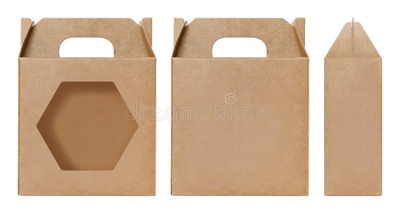Brown Box window shape cut out Packaging template, Empty Box Cardboard, Boxes Paper kraft material Gift Box Brown Packaging carton. Box brown window shape cut stock image