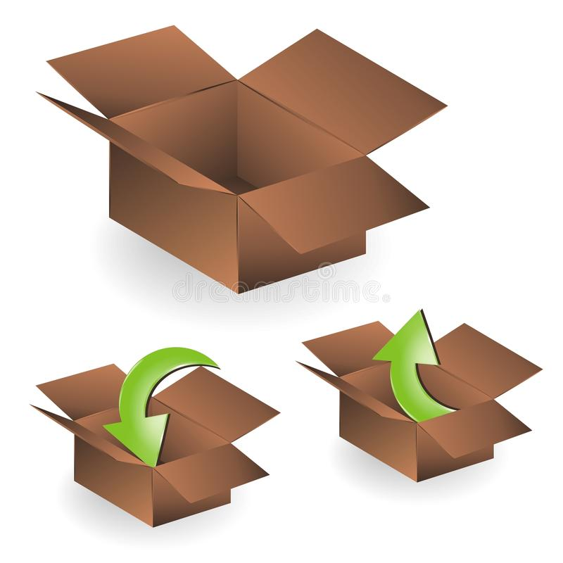 Download Brown Boxes: Empty, Upload And Download Stock Illustration - Image: 13295618