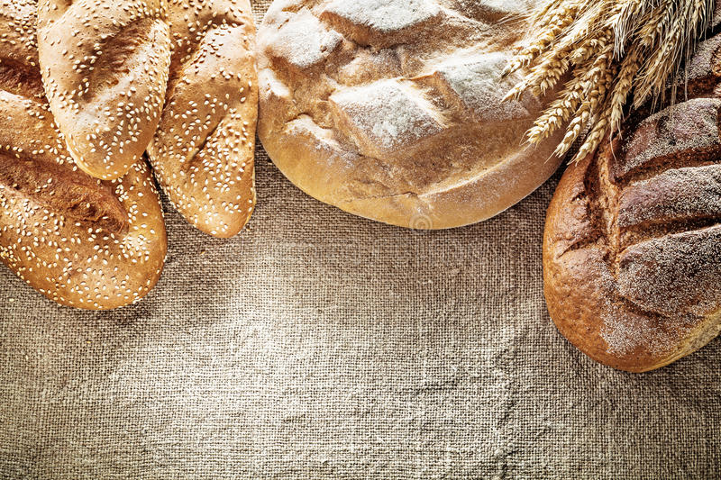 Brown bread breadstick wheat ears on hessian background.  royalty free stock images