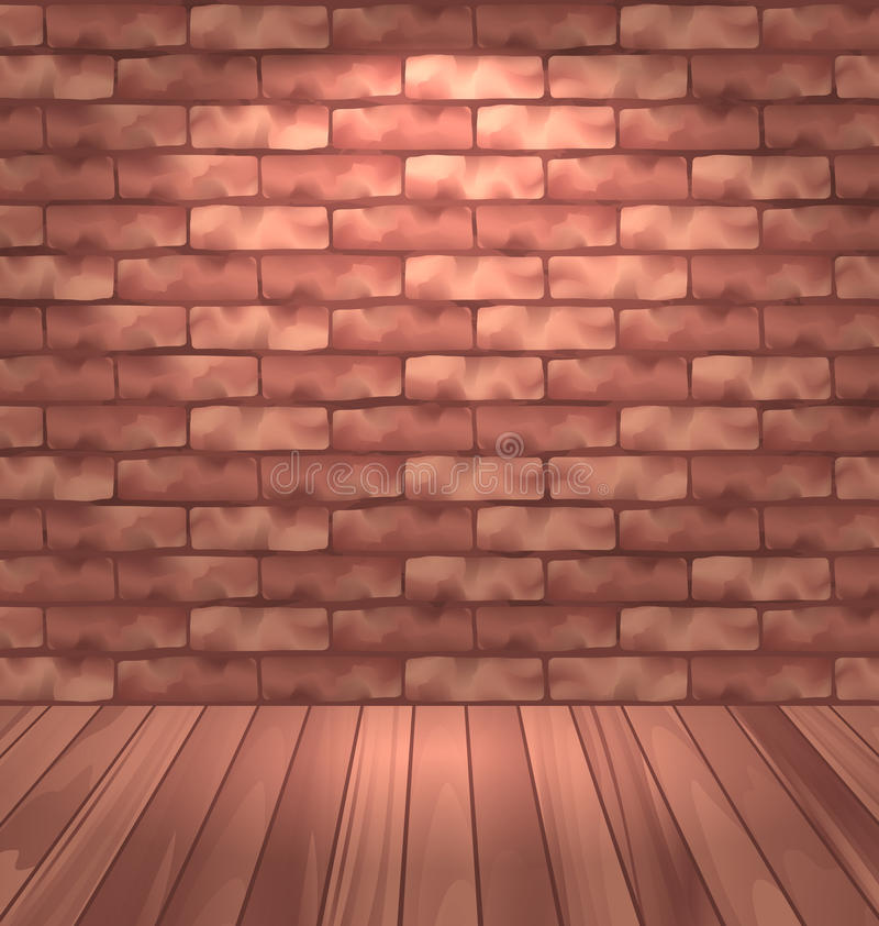 Brown brick wall with wooden floor, empty room interior with light vector illustration