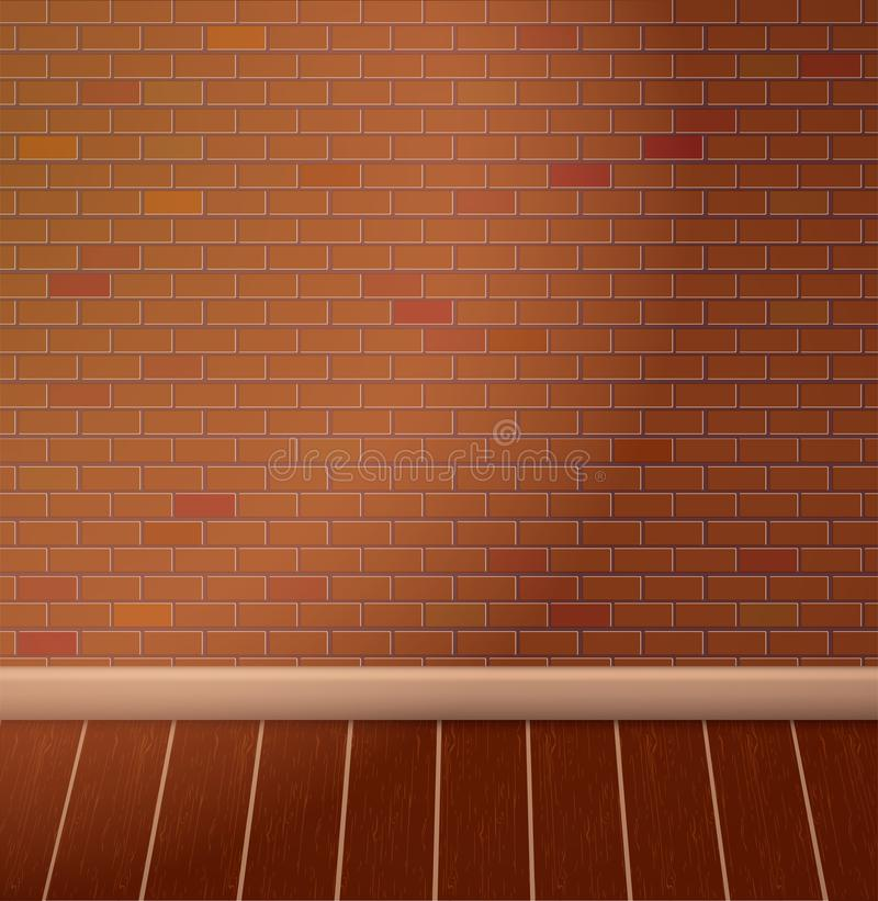 Brown brick wall and wooden floor. Empty vector interior.  stock illustration