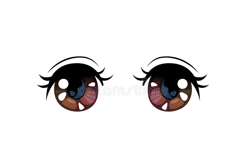 Brown Bright Eyes, Beautiful Eyes with Light Reflections Manga Japanese Style Vector Illustration. On White Background royalty free illustration