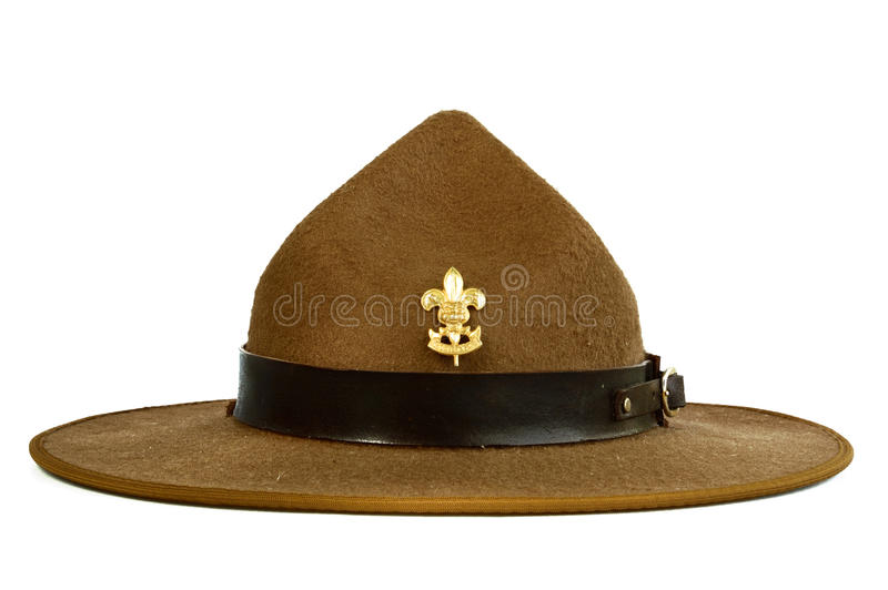 Brown Brim Hat (hat Of Scout) Isolated On White Ba Royalty Free Stock Photo