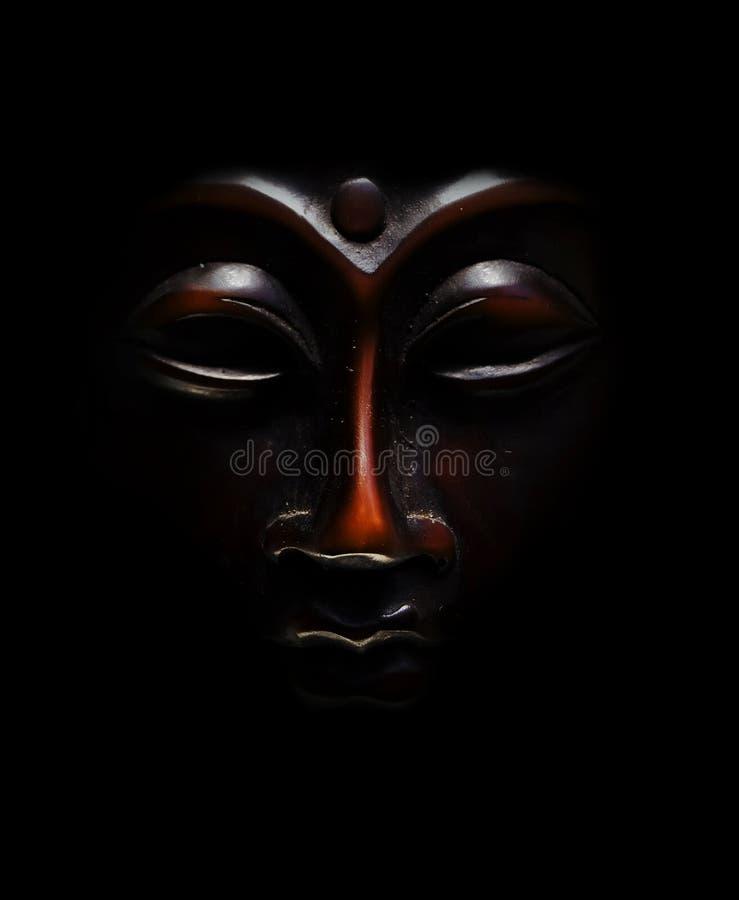Free Brown Budda Mask Black In Black Background Stock Image - 13902671
