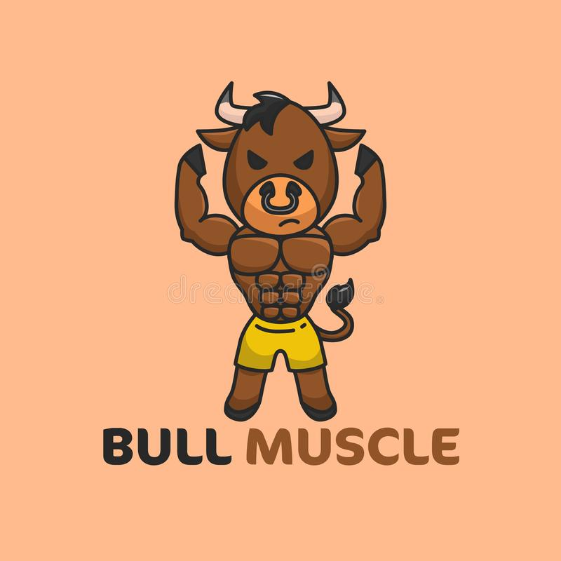 Brown Bull Muscle Illustration good for Gym or fitness Logo Template. Vector Illustration vector illustration