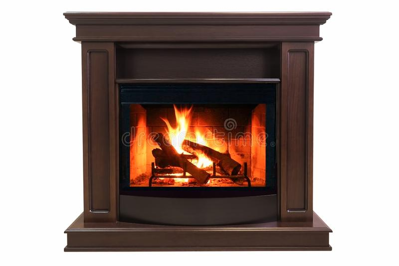 Brown burning fireplace isolated on white background royalty free stock images