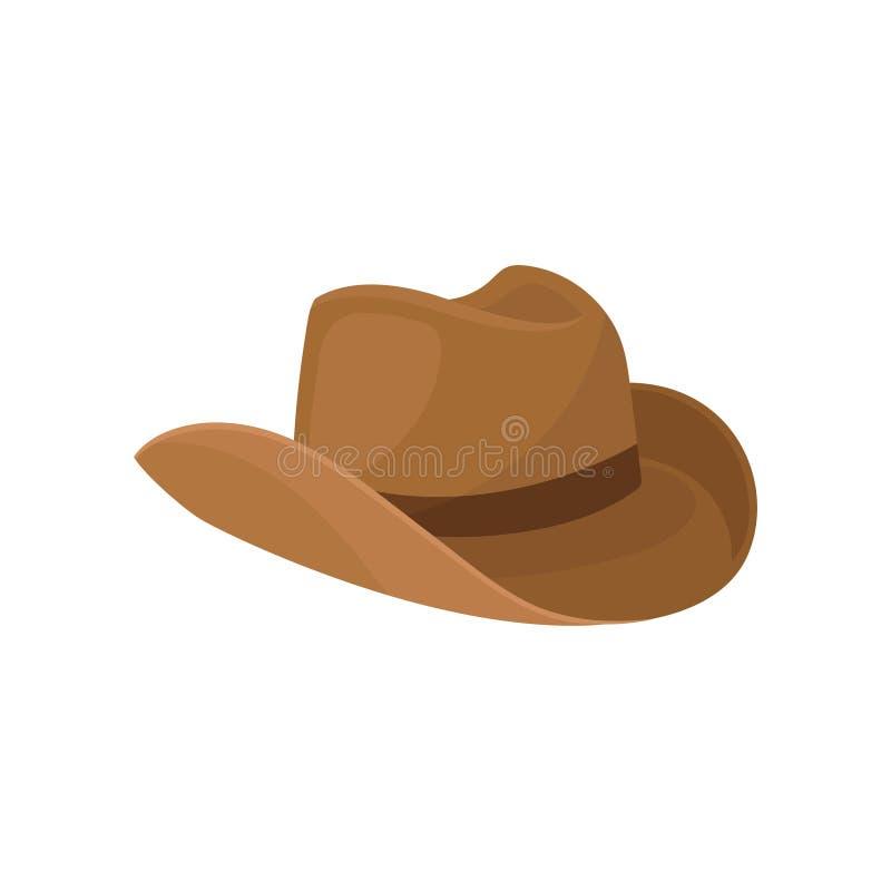 Brown być wypełnionym czymś kowbojskiego kapelusz Elegancki mężczyzna headwear Element kostium Moda temat Płaski wektorowy projek royalty ilustracja