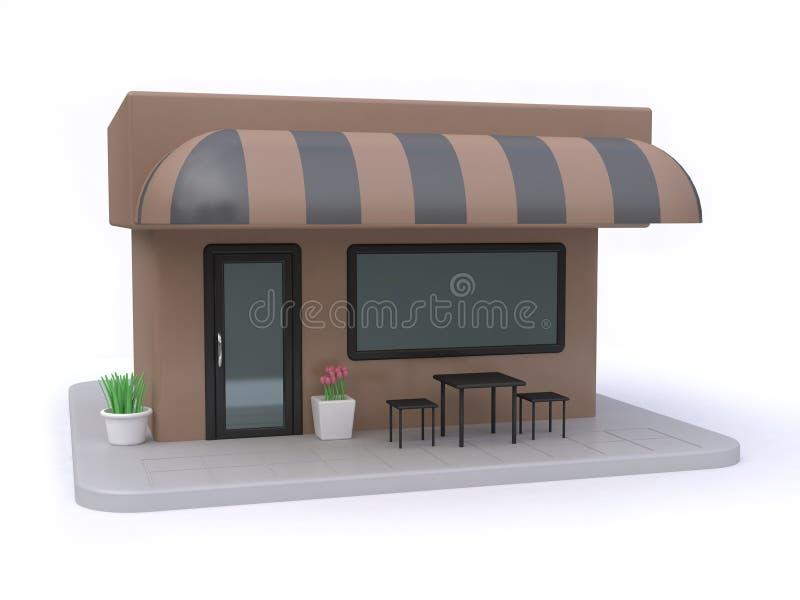 Brown-Café mit schwarzen Tabellen stellte 3d ein zu übertragen lizenzfreie abbildung