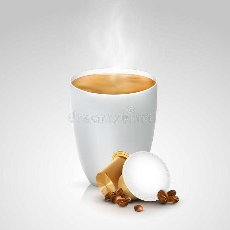 Brown capsules for coffee machine. Cup of hot coffee with pods and coffee beans on white background. 3D realistic vector stock illustration