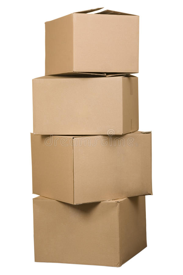Brown cardboard boxes arranged in stack royalty free stock photo