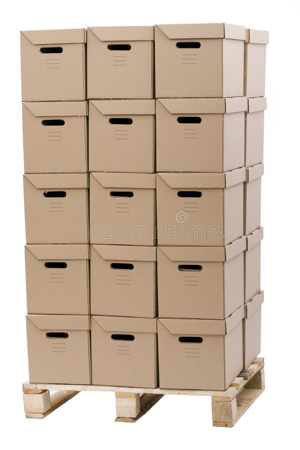 Download Brown Cardboard Boxes Put In Tower Stock Image - Image: 11568799