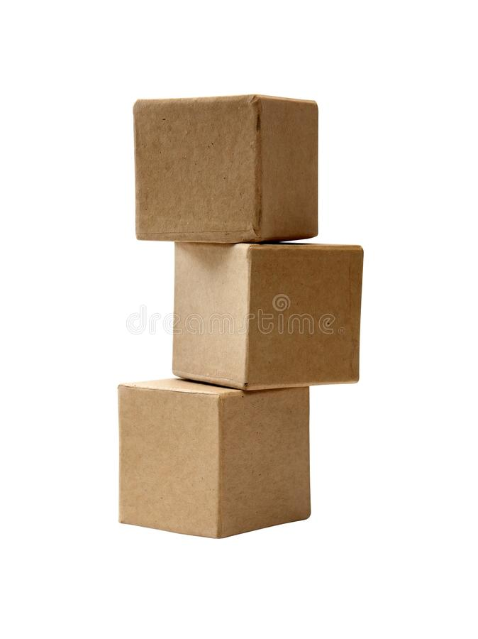 Brown Cardboard Cubes stock photography