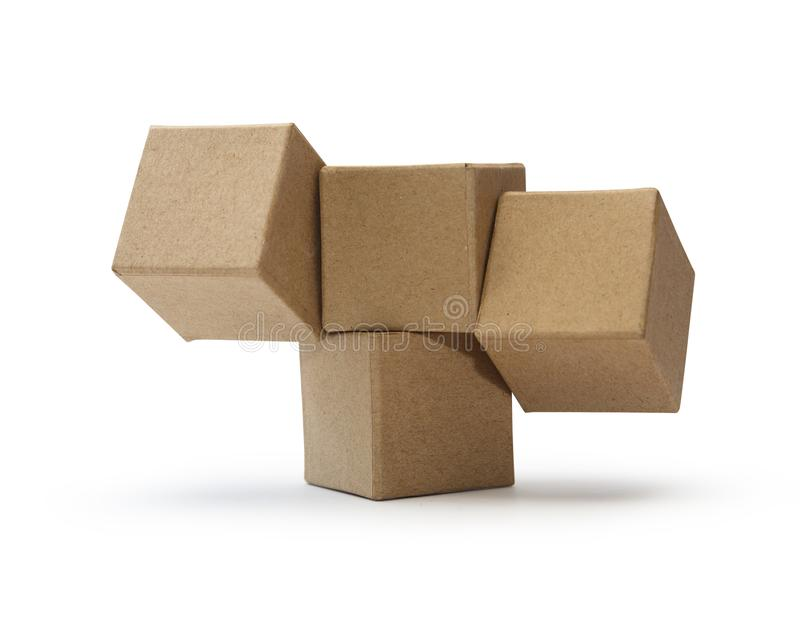 Brown Cardboard Cubes royalty free stock photography