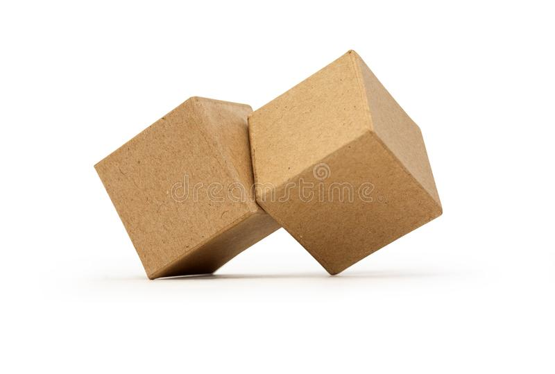 Brown Cardboard Cubes royalty free stock image