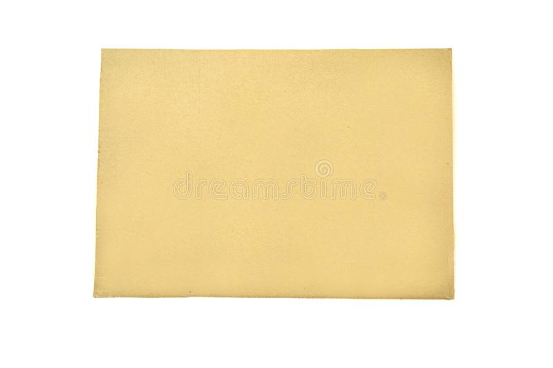 Brown cardboard sheet isolated on white background Place for context comment royalty free stock photography