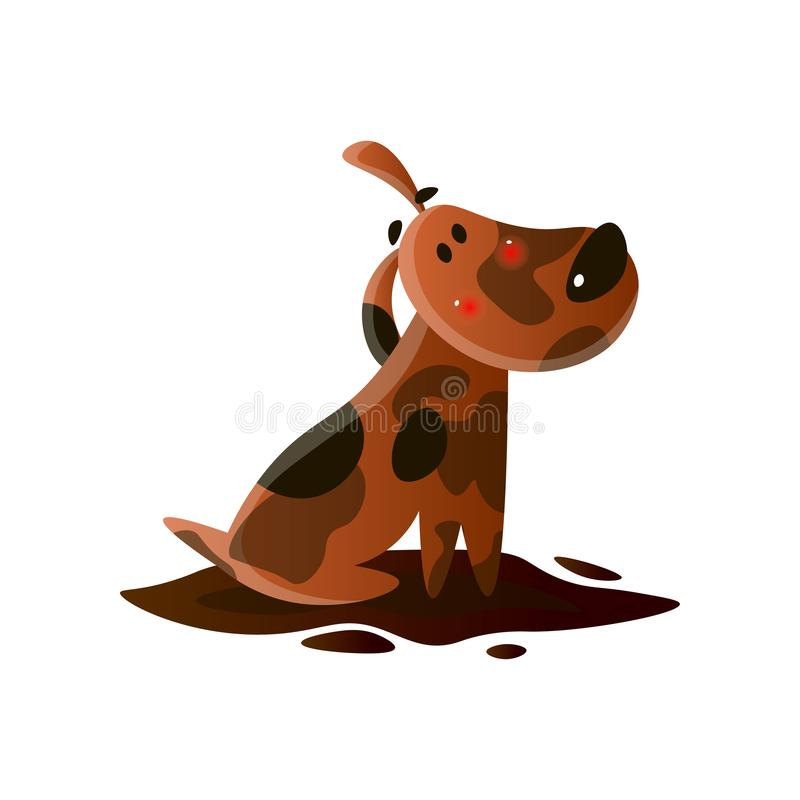 Brown cartoon dirty dog isolated on white background royalty free illustration