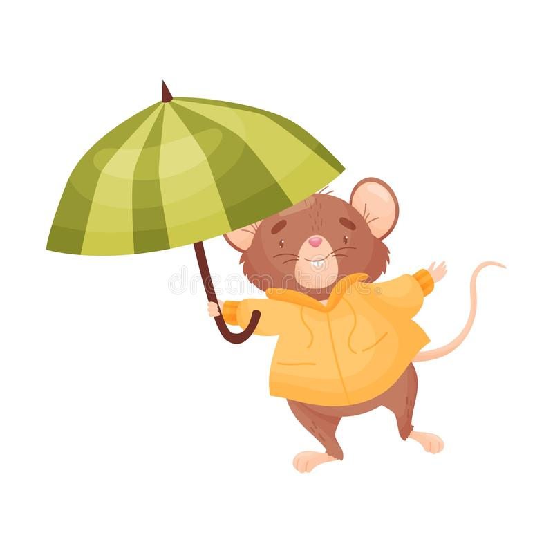 Brown cartoon mouse in a jacket holding an umbrella. Vector illustration on white background. royalty free illustration