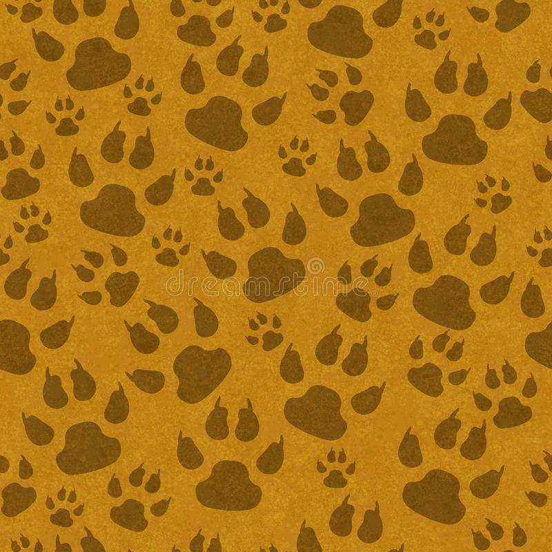 Brown cat paw prints seamless pattern background stock illustration