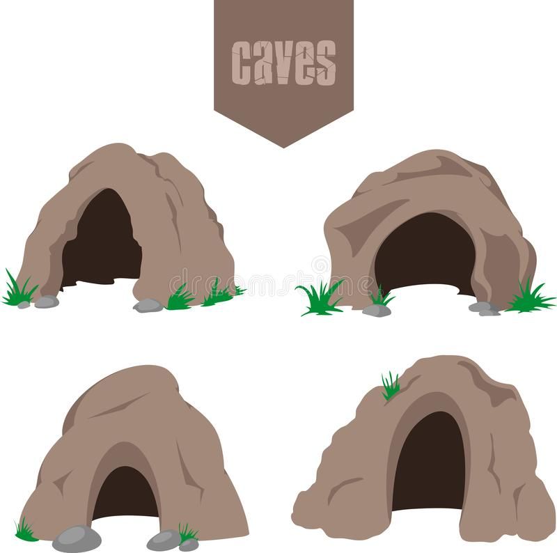 Brown cave entrance set royalty free stock images