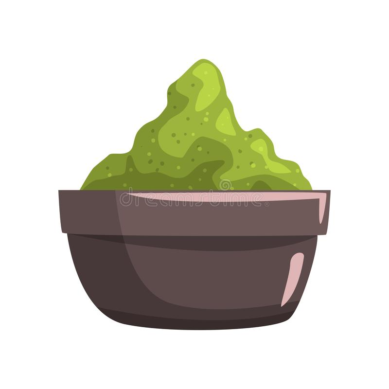 Ceramic bowl full of green clay for face or body care. Spa and beauty theme. Cartoon vector element for promo poster. Brown ceramic bowl full of green clay for vector illustration
