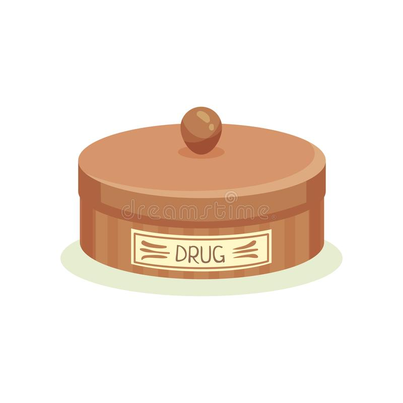 Brown metal jar with drugs. Container for storage pills. Healthcare and medicine theme. Vintage design. Flat vector icon stock illustration