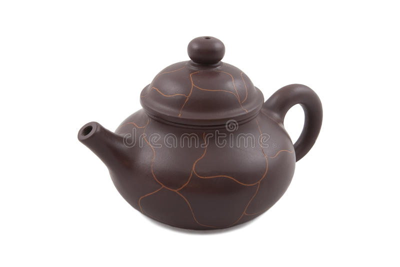 Brown Ceramic Teapot With Abstract Ornament Stock Photo