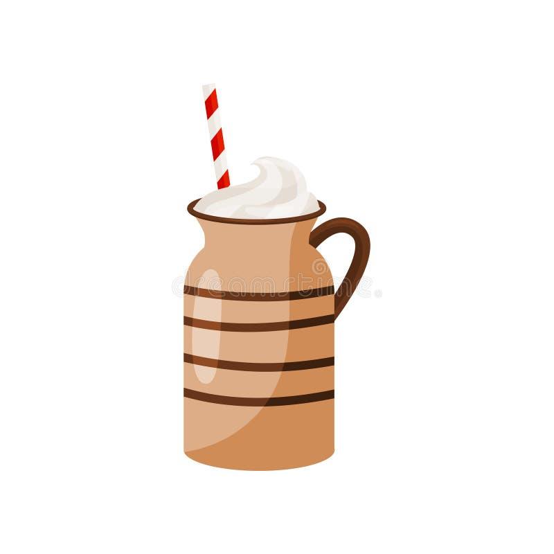 Brown ceramiczny kubek gorąca czekolada z pić słomę Smakowity wakacyjny napój z batożącą śmietanką Płaski wektorowy projekt ilustracja wektor