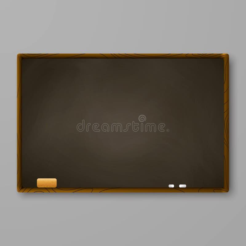 Brown chalkboard na szarości ścianie Blackboard z kredą i gumką również zwrócić corel ilustracji wektora ilustracja wektor