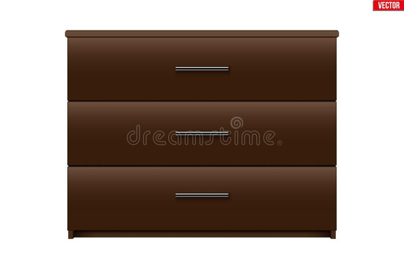 Brown Chest of drawers. Model with three drawers. Brown color. Sample Furniture Interior element. Vector Illustration isolated on white background stock illustration
