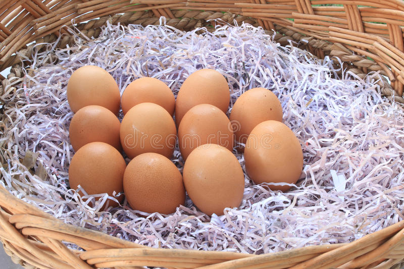 Download Brown Chicken Eggs Lay On The Wooden Basket Stock Image - Image: 22720603