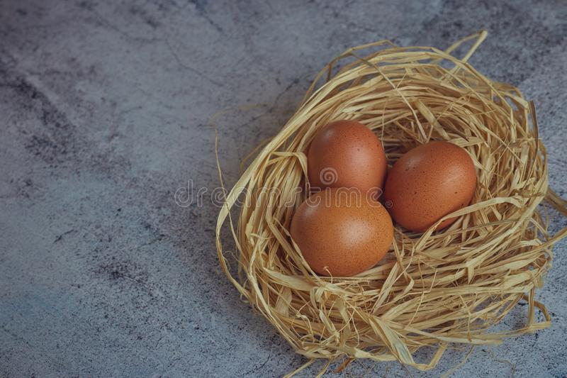 Brown eggs in hay nest on light concrete. fresh farm eggs. horizontal view of raw chicken eggs. The concept of the village. copy stock image