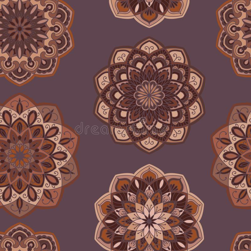 Brown chocolate colored ornate traditional background stock illustration