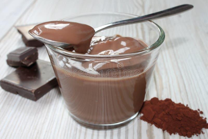 Brown chocolate pudding stock photography