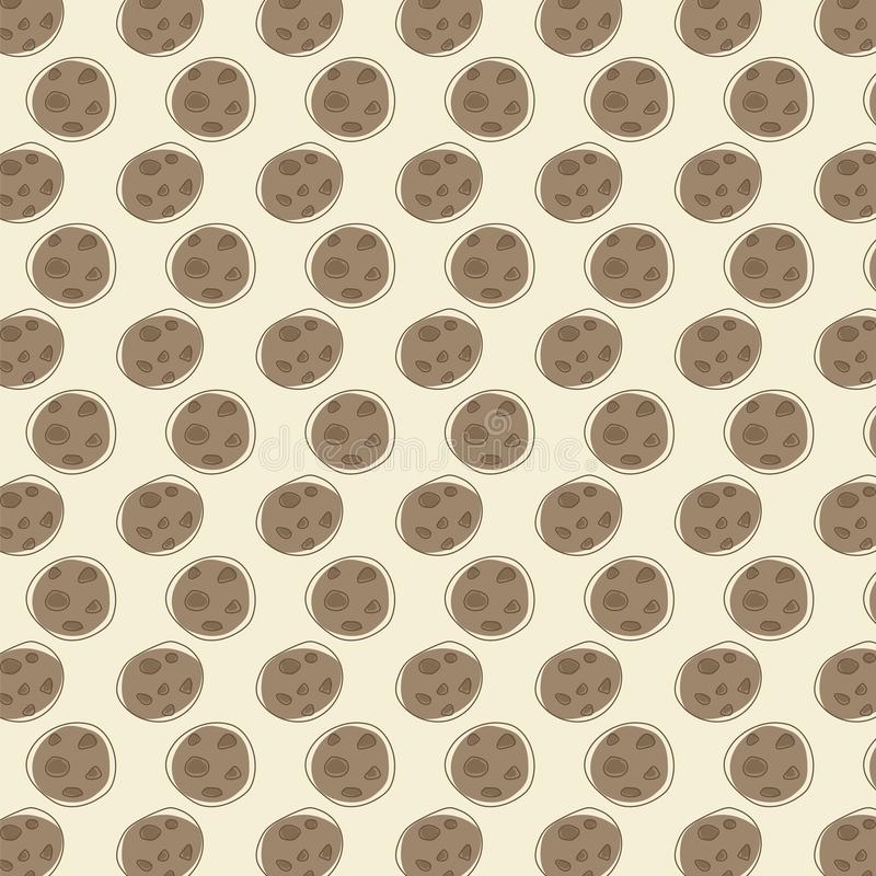 Brown chocolate round cookie drawing of a noiseless coffee pattern vector background. royalty free illustration