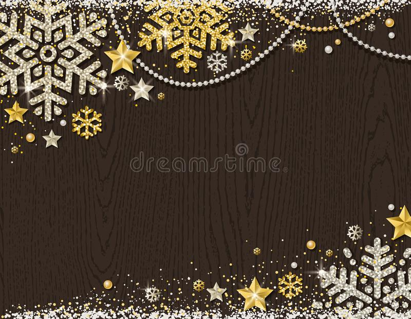 Brown christmas wooden background with frame of golden and silver glittering snowflakes, stars and garlands, vector illustration vector illustration