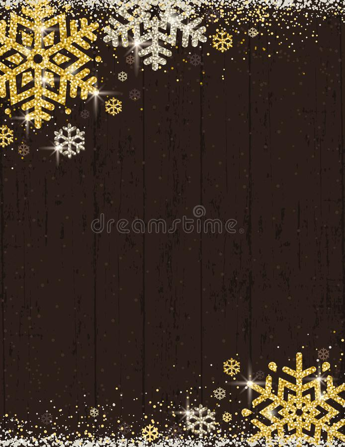 Brown christmas wooden background with frame of golden and silver glittering snowflakes, vector illustration royalty free illustration
