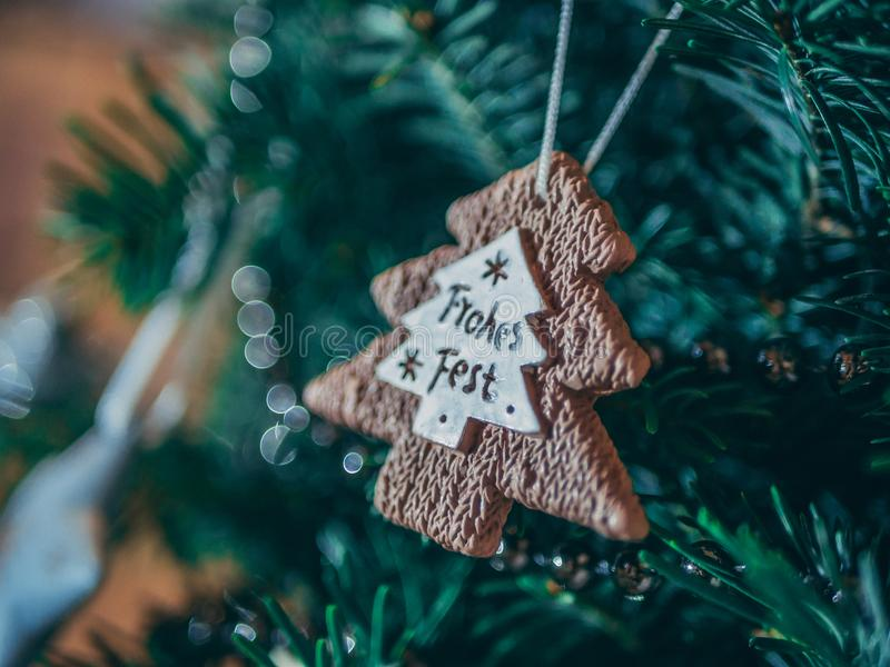 Brown Christmass Tree Ornament in Close-up Photo royalty free stock image