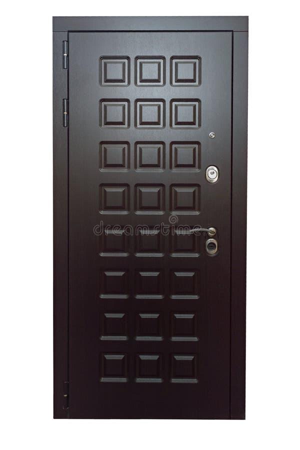 Brown ciemny drzwiowy wejście z kwadratową teksturą Frontowy widok obraz royalty free