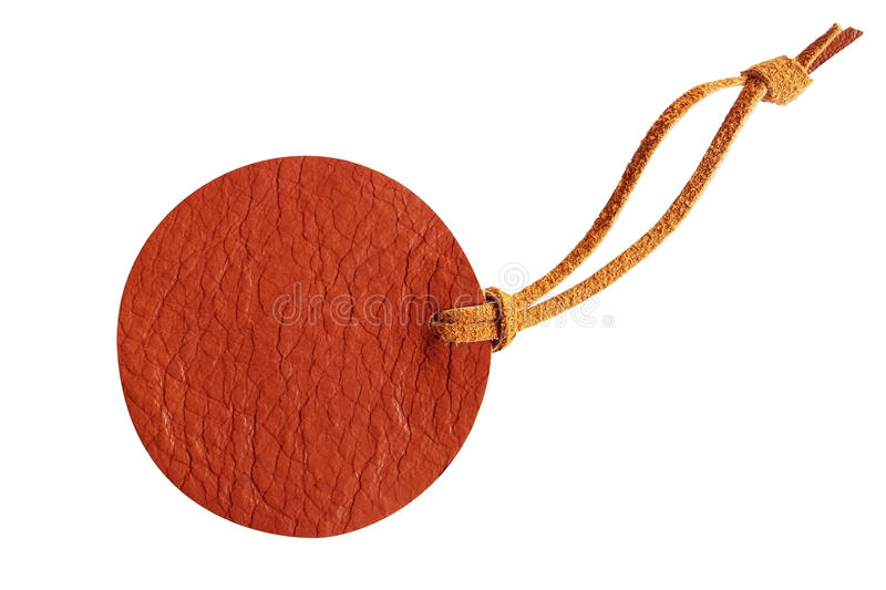 Brown circle leather price tag with leather cord isolated on white background stock photo
