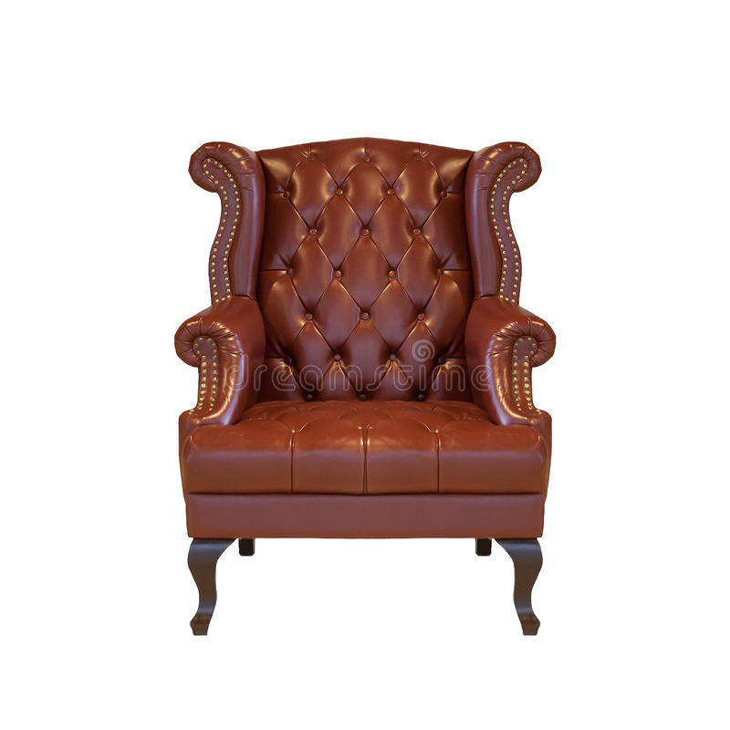 Brown classical style Armchair sofa couch in vintage room on white isolated background with clipping path. stock image