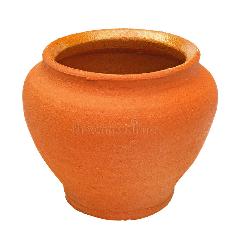 Brown clay flowerpot royalty free stock photography