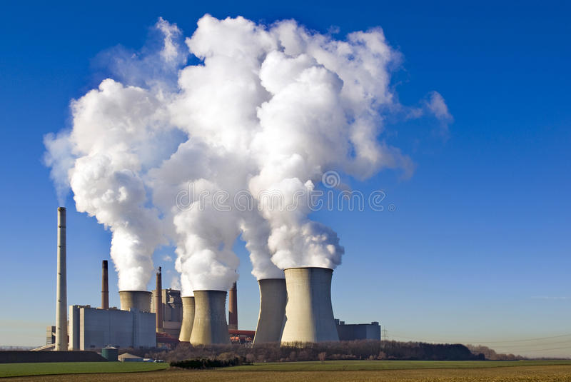 Brown coal-fired power station royalty free stock image
