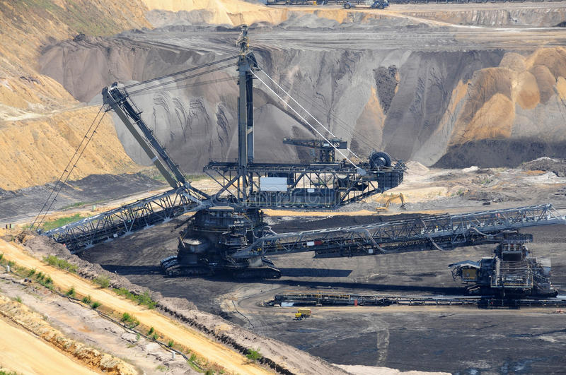 Brown coal open mining. Open cast mining in Garzweiler, Germany royalty free stock photos