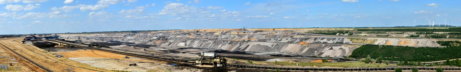 Brown coal opencast mining. Opencast mining in Garzweiler, Germany, panoramic view royalty free stock photography