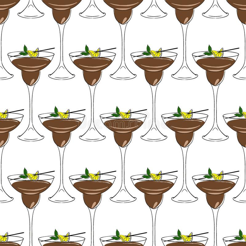 Brown cocktail, decorated with lemon and mint. seamless pattern vector illustration