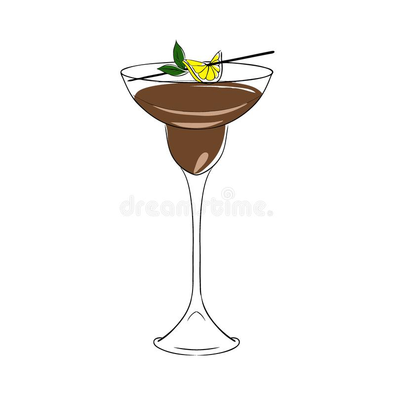 Brown cocktail, decorated with lemon and mint. Vector. Isolated. Hand drawn illustration stock illustration