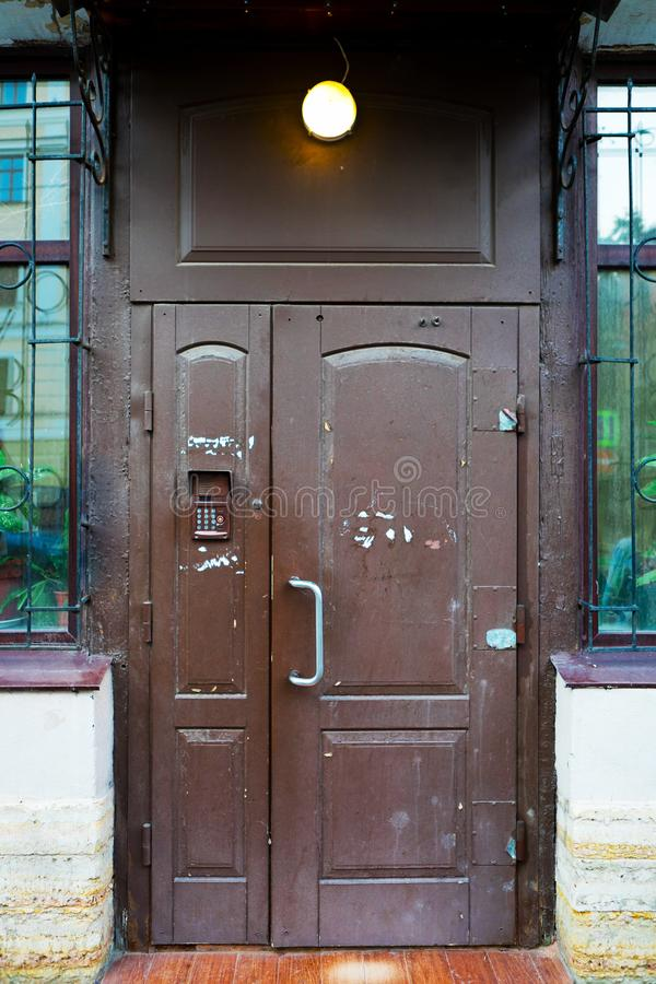 Brown coded door royalty free stock photography