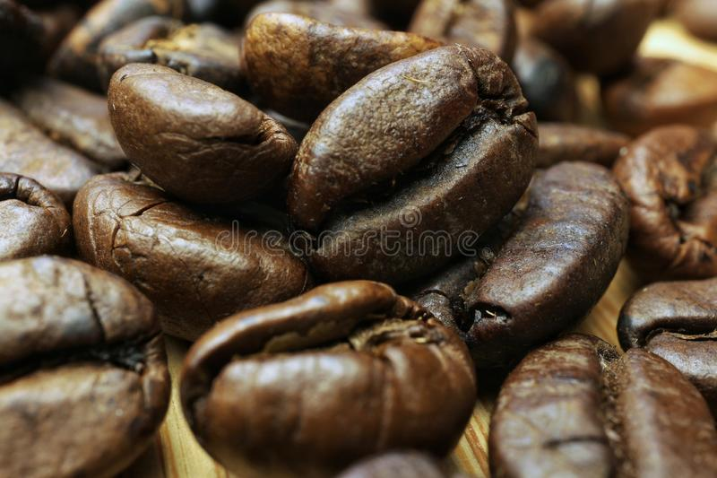 Brown coffee beans macro photography royalty free stock images