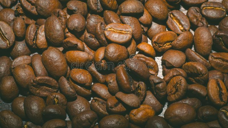 Brown coffee beans in the morning stock photography