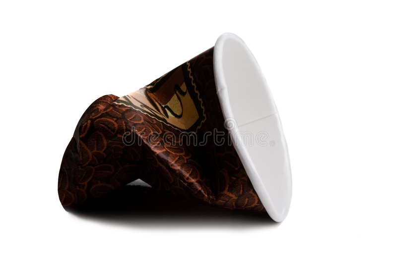 Brown coffee cup with a bean print on a white bac stock image